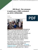 OPAS-OMS Brasil - Dez Ameaças à Saúde Que a OMS Combaterá Em 2019 - OPAS-OMS