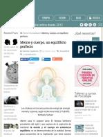 Mente y cuerpo, un equilibrio perfecto   Siquia - Psicólogos online
