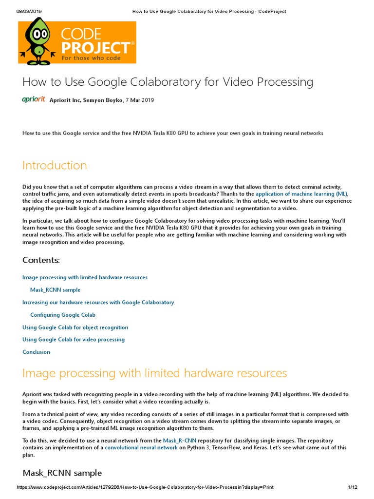 How to Use Google Colaboratory for Video Processing