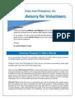Health Advisory for Volunteers