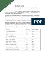 Tabel Carbohidrati Alimente