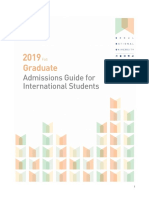 Admission Guide for International Students Fall 2019(Graduate)