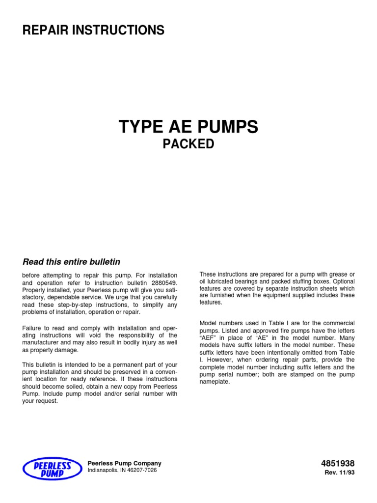 Repair Instruction TYPE AE PUMPS | Bearing (Mechanical) | Pump