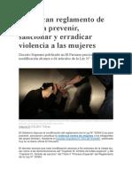 Modifican reglamento de ley para prevenir, sancionar y erradicar violencia a las mujeres