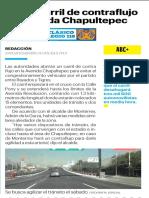 08-03-19 Habrá carril de contraflujo en avenida Chapultepec