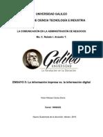 La Informacion Impresa vs La Información Digital