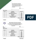 School Fee Slip Format in Excel Template