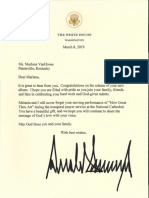President Trump's Letter to Marlana VanHoose