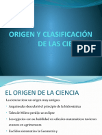Origen y Clasificación de Las Ciencias