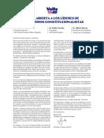 Carta abierta de Manuel Valls a los líderes de los partidos constitucionalistas