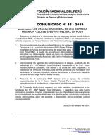 COMUNICADO PNP N° 13 - 2019