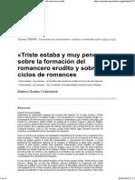 «Triste Estaba y Muy Penosa»_ Sobre La Formación Del Romancero Erudito y Sobre Los Ciclos de Romances