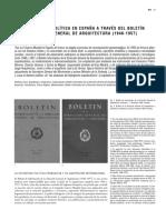 Arquitectura y Politica en España a Través Del Boletin de La Direccion General de Arquitectura