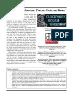Clockwork Golem - Masterwork Monsters - Centaur Feats and Items (d20)