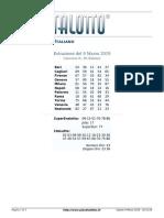 Estrazioni del Lotto Italiano di sabato 9 Marzo 2019