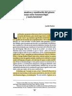 Butler Judith Actos Performativos y Constitucic3b3n Del Gc3a9nero 1990