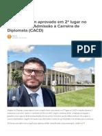 Entrevista Com Aprovado Em 2º Lugar No Concurso de Admissão à Carreira de Diplomata (CACD)