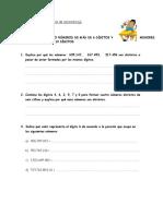 Guía de Aprendizaje Lectura y Escritura de Números
