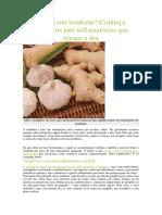 Conheça alimentos anti-inflamatórios que tratam a dor