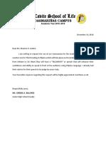 Letter Reservation of Venue
