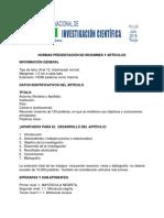 Normas Presentación de Resumnes y Artículos