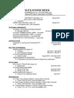 alexander meek undergraduate resume