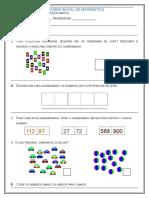 3° ano- avaliação diagnóstica Mat