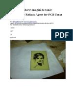 White Glue Release Agent for PCB Toner Transfer