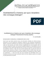Analfabetismo e Histeria Por Que o Brasileiro Na o