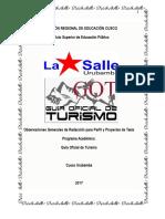 Observaciones Generales Para La Redacción de Perfil y Proyecto de Tesis