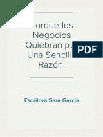 Porque Los Necogios Quiebran Por Sara Garcia