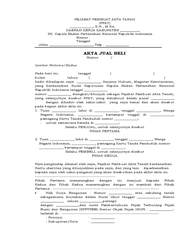 Contoh Ajb Pejabat Pembuat Akta Tanah