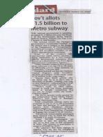 Manila Standard, Mar. 11, 2019, Govt allots P1.5 billion to Metro subway.pdf