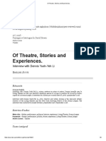 Of Theatre, Stories and Experiences