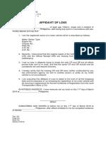 Affidavit of Loss of or & Cr