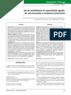 antibioticos en apendicitis aguda pdf