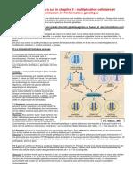 multiplication cellulaire et transmission de l'information génétique