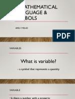 Mathematical Language and Symbols