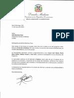 Carta de felicitación del presidente Danilo Medina por séptimo aniversario del programa radio-televisivo El Sol de la Mañana