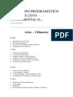 Conteúdo Programático de Artes
