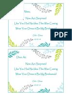 Bridesmaid Card - For Cici