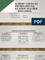 Teachers' Voices to Inform Special Education Teacher