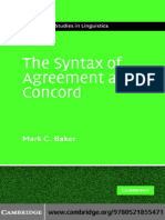 The Syntax of Agreement and Concord 2008
