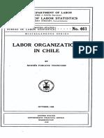 1928 Moises Poblete. Labor Organizations in Chile. US Department of Labor