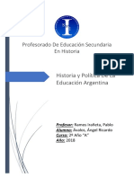 Historia y Politica de La Educacion