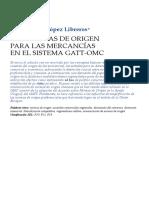 Las Normas de Origen Para Las Mercancias en El Sistema Gatt