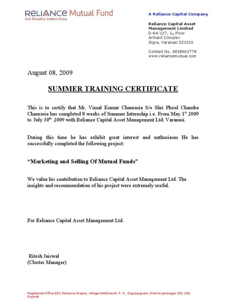 Confirmation Letter Format For Project Training.  1522740610 v 1