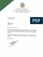 Carta de felicitación del presidente Danilo Medina a Robert Florentino, medallista de bronce en Grand Prix de Judo