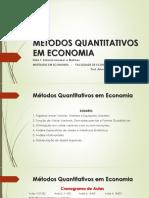 MQE - Slide 1 - Sistema Lineares e Matrizes