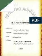 Portada Caratula de Registro Auxiliar 2018